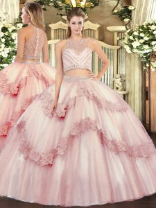 Top Selling Baby Pink Scoop Zipper Beading and Appliques Ball Gown Prom Dress Sleeveless