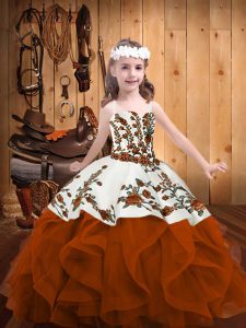 Excellent Embroidery and Ruffles Kids Formal Wear Rust Red Lace Up Sleeveless Floor Length