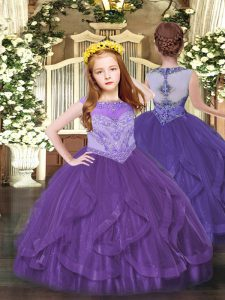 Attractive Purple Ball Gowns Beading and Ruffles Child Pageant Dress Zipper Tulle Sleeveless Floor Length