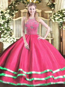 Hot Pink Halter Top Zipper Beading Quinceanera Gown Sleeveless