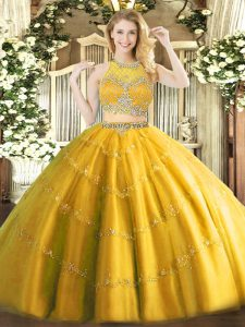 Traditional Gold Two Pieces Scoop Sleeveless Tulle Floor Length Zipper Beading Quince Ball Gowns