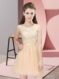Superior Champagne Scoop Neckline Lace Quinceanera Court Dresses Sleeveless Side Zipper