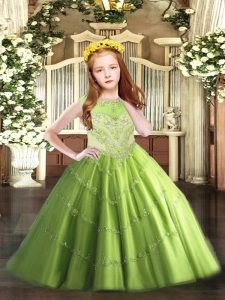 Sleeveless Beading and Appliques Zipper Girls Pageant Dresses