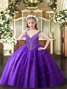 Floor Length Purple Child Pageant Dress V-neck Sleeveless Lace Up