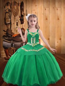 Custom Designed Turquoise Mermaid Organza Straps Sleeveless Embroidery and Ruffles Floor Length Lace Up Little Girls Pageant Dress