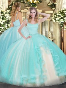 Graceful Floor Length Zipper Vestidos de Quinceanera Aqua Blue for Military Ball and Sweet 16 and Quinceanera with Beading