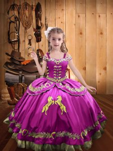 Fuchsia Pageant Gowns For Girls Sweet 16 and Quinceanera with Beading and Embroidery Off The Shoulder Sleeveless Lace Up