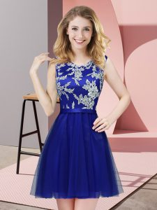Customized Royal Blue A-line Lace Quinceanera Dama Dress Side Zipper Tulle Sleeveless Mini Length