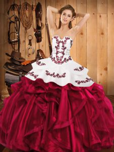 Sexy Satin and Organza Sleeveless Floor Length 15 Quinceanera Dress and Embroidery and Ruffles