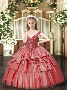 V-neck Sleeveless Lace Up Little Girl Pageant Dress Coral Red Organza
