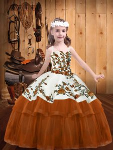 Embroidery Girls Pageant Dresses Rust Red Lace Up Sleeveless Floor Length