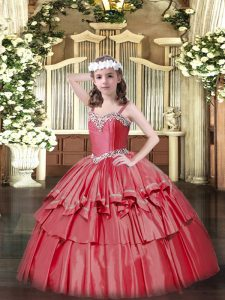 Coral Red Ball Gowns Straps Sleeveless Organza and Taffeta Floor Length Lace Up Beading and Ruffled Layers Little Girl Pageant Gowns