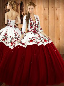 Wine Red Lace Up Sweetheart Embroidery Vestidos de Quinceanera Satin and Tulle Sleeveless