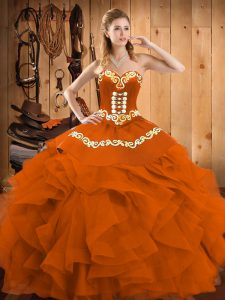 Cheap Rust Red Satin and Organza Lace Up Sweetheart Sleeveless Floor Length 15th Birthday Dress Embroidery and Ruffles
