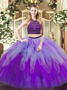 Fashionable Floor Length Multi-color 15th Birthday Dress Tulle Sleeveless Beading and Ruffles