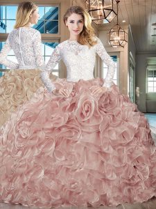 Pink And White Scoop Lace Up Beading and Ruffles Quinceanera Dresses Brush Train Long Sleeves