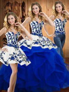 Customized Floor Length Three Pieces Sleeveless Blue Sweet 16 Dresses Lace Up