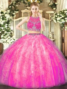 Excellent Fuchsia Two Pieces Beading and Ruffles Sweet 16 Quinceanera Dress Zipper Tulle Sleeveless Floor Length