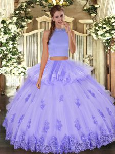 Dazzling Lavender Sleeveless Floor Length Beading and Appliques and Ruffles Backless Ball Gown Prom Dress