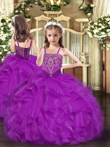 Sleeveless Beading and Ruffles Lace Up Pageant Gowns For Girls