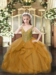 Tulle Sleeveless Floor Length Little Girls Pageant Gowns and Beading and Ruffles
