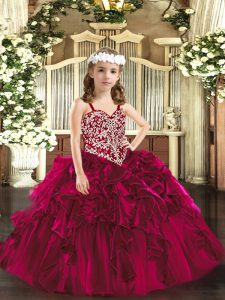 Floor Length Lace Up Little Girl Pageant Dress Fuchsia for Party and Quinceanera with Beading and Ruffles