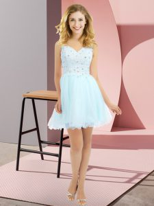 Light Blue Court Dresses for Sweet 16 Prom and Party and Wedding Party with Beading and Lace V-neck Sleeveless Side Zipper