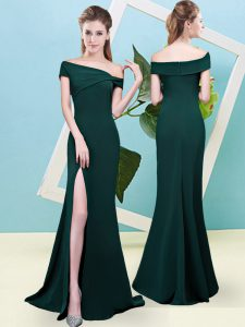 Best Floor Length Dark Green Quinceanera Dama Dress Off The Shoulder Sleeveless Zipper