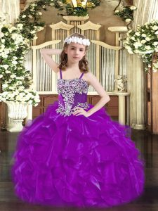Purple Lace Up Straps Beading and Ruffles Child Pageant Dress Organza Sleeveless