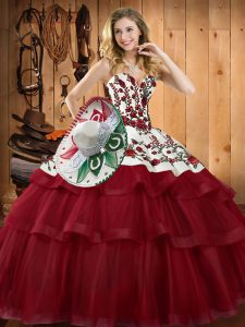 Decent Wine Red Sweetheart Lace Up Embroidery Quince Ball Gowns Sweep Train Sleeveless