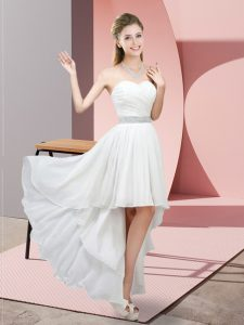 Pretty High Low Lace Up Vestidos de Damas White for Prom and Party and Wedding Party with Beading