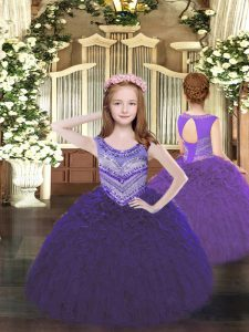 Beauteous Purple Sleeveless Beading and Ruffles Floor Length Pageant Gowns For Girls