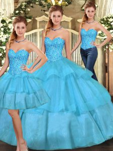 Fabulous Floor Length Lace Up Sweet 16 Quinceanera Dress Aqua Blue for Military Ball and Sweet 16 and Quinceanera with Beading and Ruffled Layers