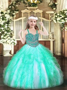 Most Popular Straps Sleeveless Lace Up Child Pageant Dress Apple Green Organza