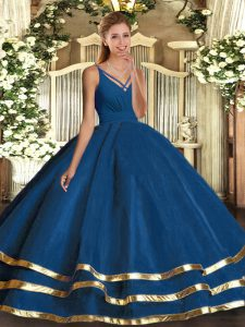 Custom Designed Organza Sleeveless Floor Length Quinceanera Gowns and Ruffled Layers
