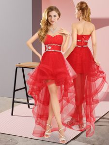 Fabulous High Low A-line Sleeveless Red Quinceanera Court Dresses Lace Up