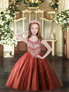 Discount Wine Red Scoop Neckline Beading Little Girls Pageant Dress Sleeveless Lace Up