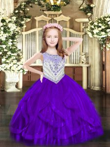 Graceful Sleeveless Tulle Floor Length Zipper Girls Pageant Dresses in Purple with Beading and Ruffles