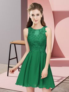 Discount Dark Green Sleeveless Chiffon Zipper Court Dresses for Sweet 16 for Prom and Party and Wedding Party