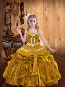 V-neck Sleeveless Kids Formal Wear Floor Length Embroidery and Ruffles Gold Organza