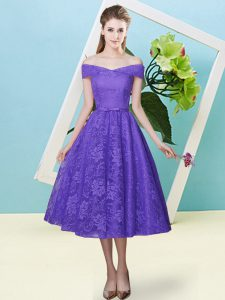 Lavender Lace Lace Up Off The Shoulder Cap Sleeves Tea Length Quinceanera Court Dresses Bowknot