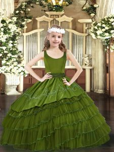 Olive Green Organza Zipper Scoop Sleeveless Floor Length Little Girls Pageant Gowns Beading and Embroidery and Ruffled Layers