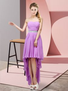 Sleeveless Chiffon High Low Lace Up Vestidos de Damas in Lavender with Beading