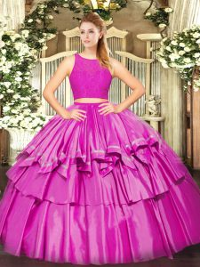 Fuchsia Scoop Zipper Ruffled Layers Quinceanera Gowns Sleeveless