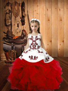 New Style Straps Sleeveless Lace Up Kids Pageant Dress Red Organza
