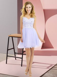 Empire Quinceanera Dama Dress Lavender V-neck Tulle Sleeveless Mini Length Side Zipper