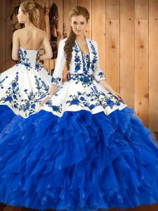 Noble Satin and Organza Sweetheart Sleeveless Lace Up Embroidery and Ruffles Quince Ball Gowns in Blue