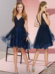 Navy Blue Sleeveless Knee Length Appliques and Ruffles Backless Quinceanera Court of Honor Dress