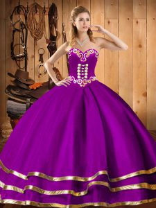 Sleeveless Organza Floor Length Lace Up Sweet 16 Dresses in Purple with Embroidery