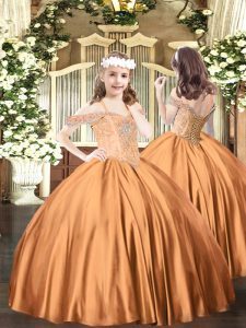 Rust Red Glitz Pageant Dress Party and Quinceanera with Beading Off The Shoulder Sleeveless Lace Up